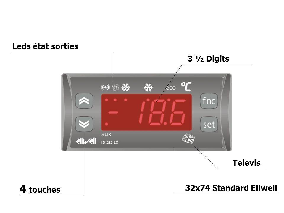 4 touches Leds état sorties Televis 3 ½ Digits 32x74 Standard Eliwell