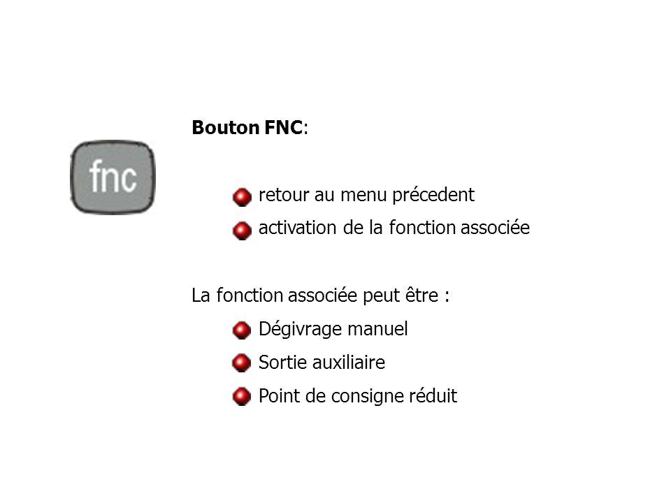 Bouton FNC: retour au menu précedent activation de la fonction associée La fonction associée peut être : Dégivrage manuel Sortie auxiliaire Point de c