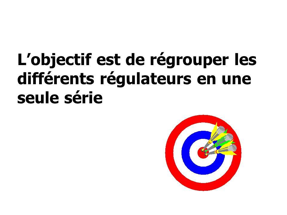 L'objectif est de régrouper les différents régulateurs en une seule série