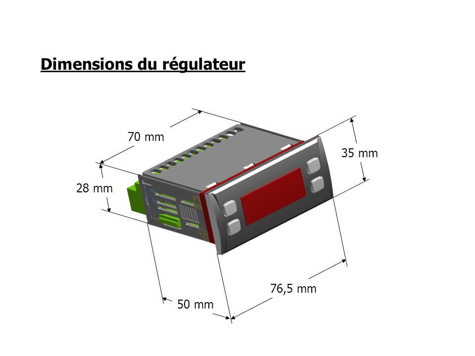 Dimensions du régulateur 76,5 mm 35 mm 50 mm 28 mm 70 mm