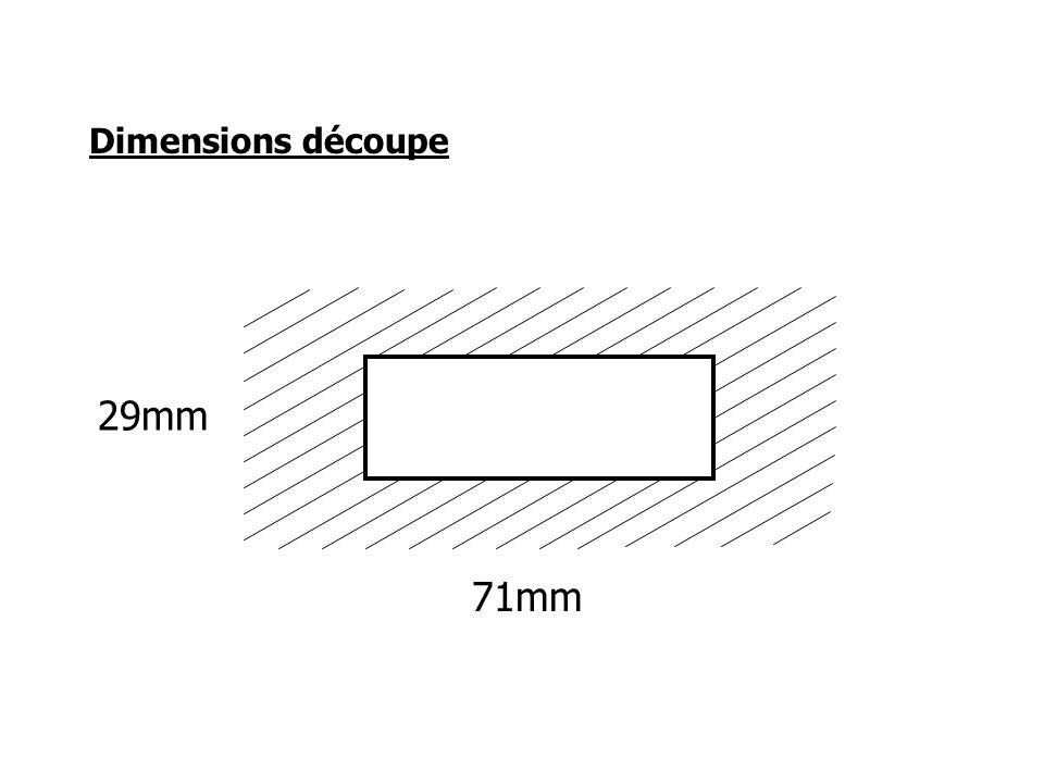 Dimensions découpe 29mm 71mm