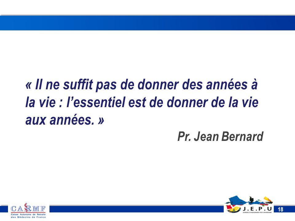 CDT 2013 18 « Il ne suffit pas de donner des années à la vie : l'essentiel est de donner de la vie aux années. » Pr. Jean Bernard