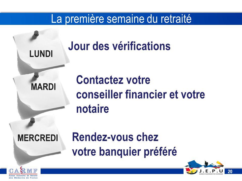 CDT 2013 20 LUNDI Jour des vérifications Contactez votre conseiller financier et votre notaire MARDI Rendez-vous chez votre banquier préféré MERCREDI