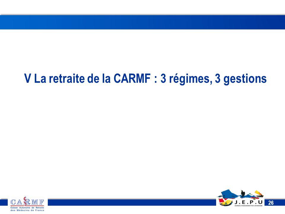 CDT 2013 26 V La retraite de la CARMF : 3 régimes, 3 gestions