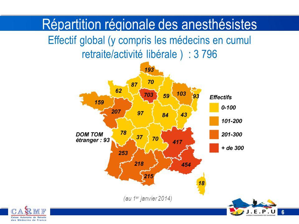 CDT 2013 6 6 (au 1 er janvier 2014) Répartition régionale des anesthésistes Effectif global (y compris les médecins en cumul retraite/activité libéral