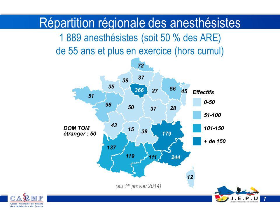 CDT 2013 7 7 Répartition régionale des anesthésistes 1 889 anesthésistes (soit 50 % des ARE) de 55 ans et plus en exercice (hors cumul) (au 1 er janvi