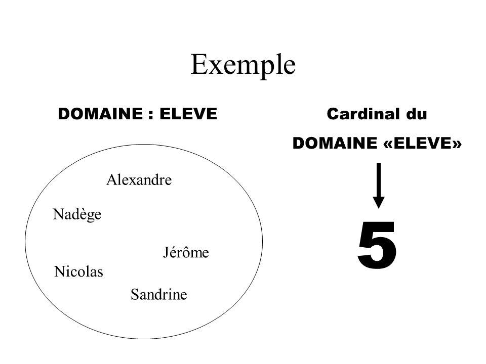 Exemple DOMAINE : ELEVECardinal du DOMAINE «ELEVE» Alexandre Nadège Jérôme Nicolas Sandrine 5