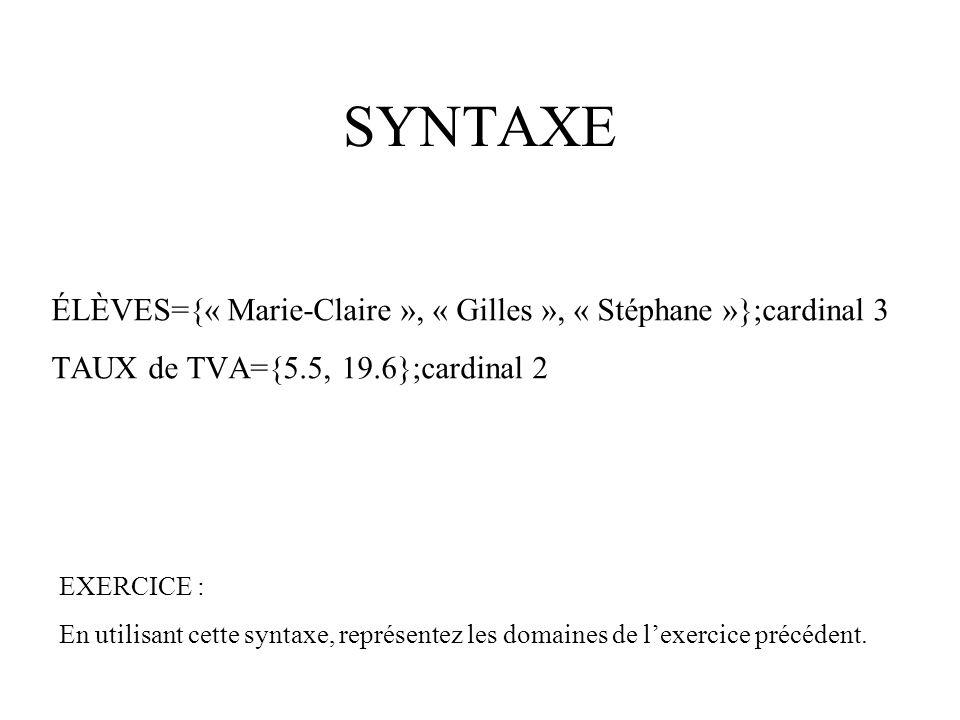 SYNTAXE ÉLÈVES={« Marie-Claire », « Gilles », « Stéphane »};cardinal 3 TAUX de TVA={5.5, 19.6};cardinal 2 EXERCICE : En utilisant cette syntaxe, représentez les domaines de l'exercice précédent.