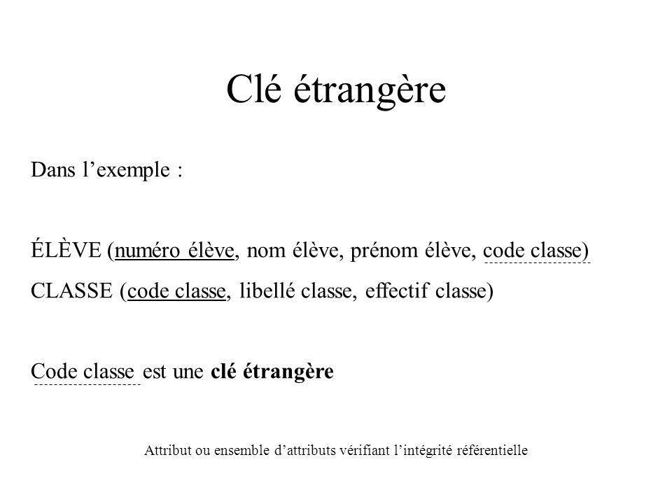Clé étrangère Dans l'exemple : ÉLÈVE (numéro élève, nom élève, prénom élève, code classe) CLASSE (code classe, libellé classe, effectif classe) Code classe est une clé étrangère Attribut ou ensemble d'attributs vérifiant l'intégrité référentielle