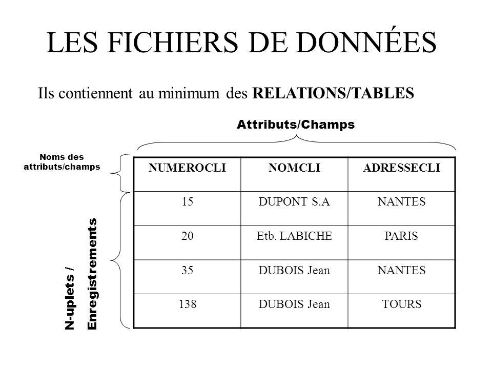 LES FICHIERS DE DONNÉES NUMEROCLINOMCLIADRESSECLI 15DUPONT S.ANANTES 20Etb.