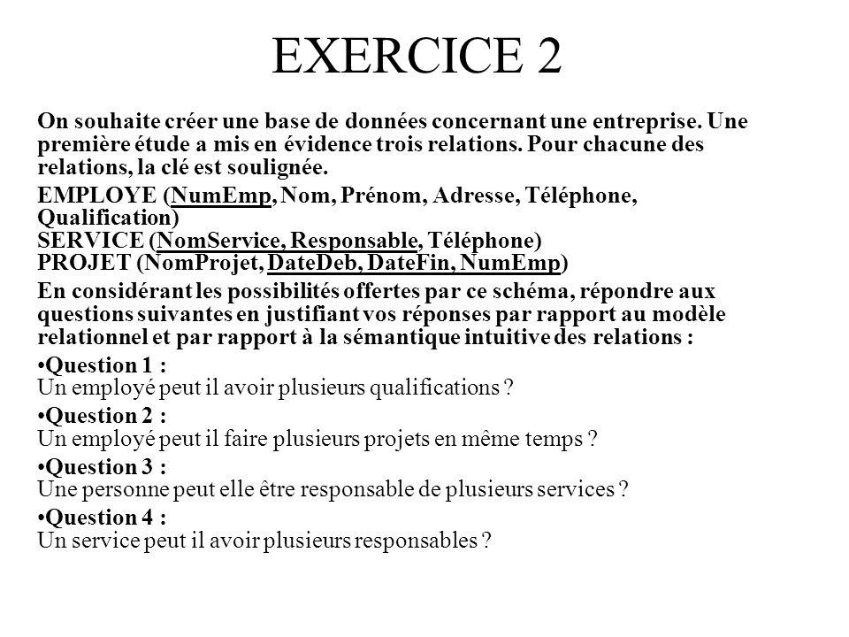 EXERCICE 2 On souhaite créer une base de données concernant une entreprise.