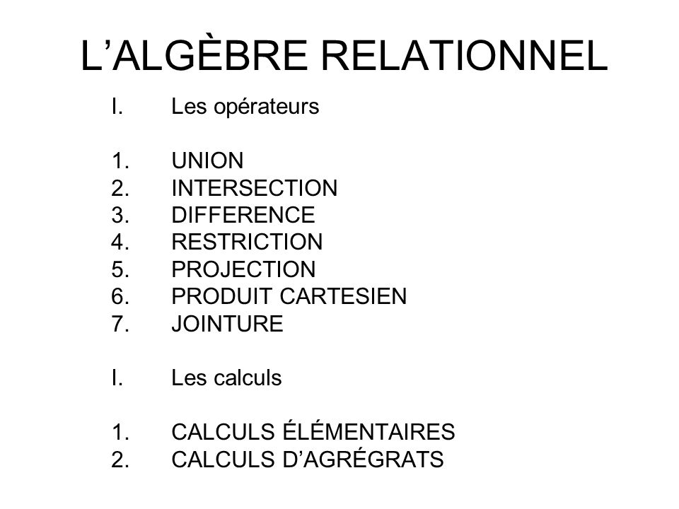 L'ALGÈBRE RELATIONNEL I.Les opérateurs 1.UNION 2.INTERSECTION 3.DIFFERENCE 4.RESTRICTION 5.PROJECTION 6.PRODUIT CARTESIEN 7.JOINTURE I.Les calculs 1.C