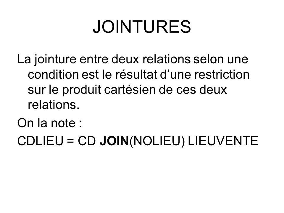 JOINTURES La jointure entre deux relations selon une condition est le résultat d'une restriction sur le produit cartésien de ces deux relations. On la