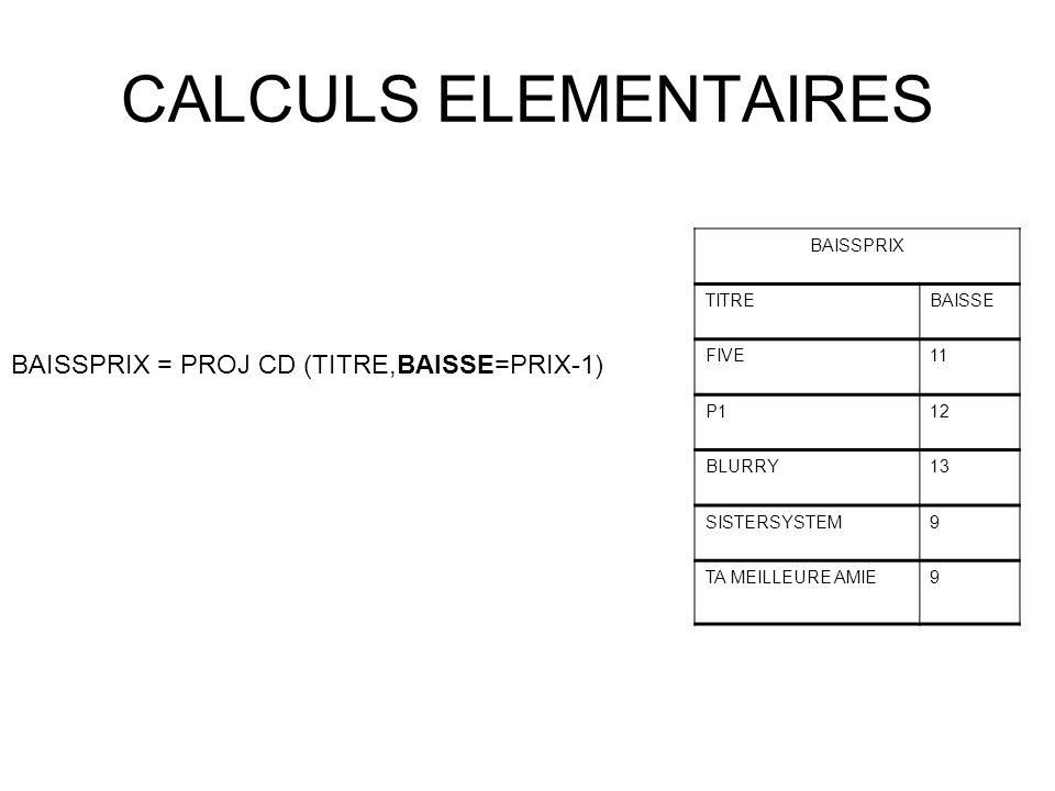 CALCULS ELEMENTAIRES BAISSPRIX = PROJ CD (TITRE,BAISSE=PRIX-1) BAISSPRIX TITREBAISSE FIVE11 P112 BLURRY13 SISTERSYSTEM9 TA MEILLEURE AMIE9
