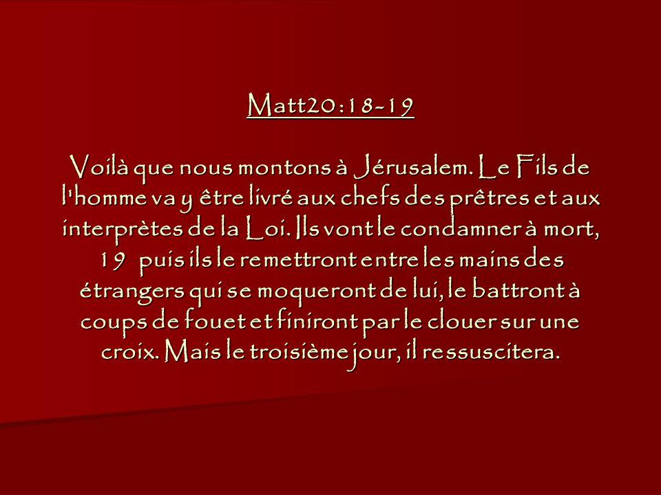 Matt20 :18-19 Voilà que nous montons à Jérusalem.