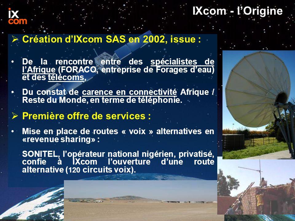 IXcom - l'Origine  Création d'IXcom SAS en 2002, issue : De la rencontre entre des spécialistes de l'Afrique (FORACO, entreprise de Forages d'eau) et des télécoms, Du constat de carence en connectivité Afrique / Reste du Monde, en terme de téléphonie.
