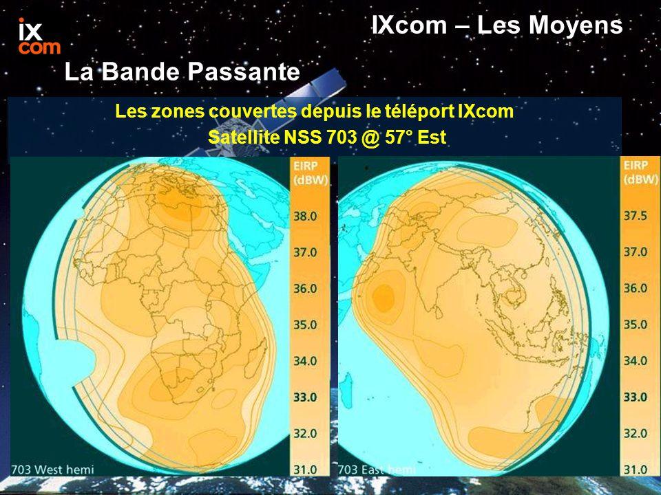 Les zones couvertes depuis le téléport IXcom Satellite NSS 7 @ 338° Est IXcom – Les Moyens La Bande Passante
