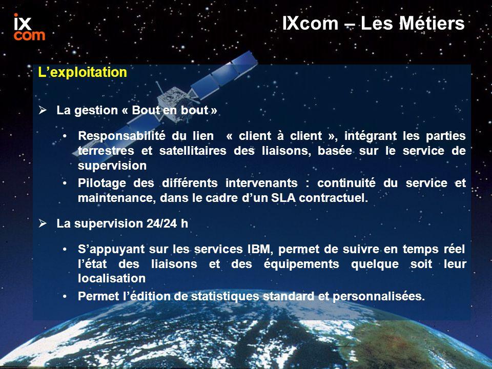 IXcom – Les Métiers L'exploitation  La gestion « Bout en bout » Responsabilité du lien « client à client », intégrant les parties terrestres et satellitaires des liaisons, basée sur le service de supervision Pilotage des différents intervenants : continuité du service et maintenance, dans le cadre d'un SLA contractuel.