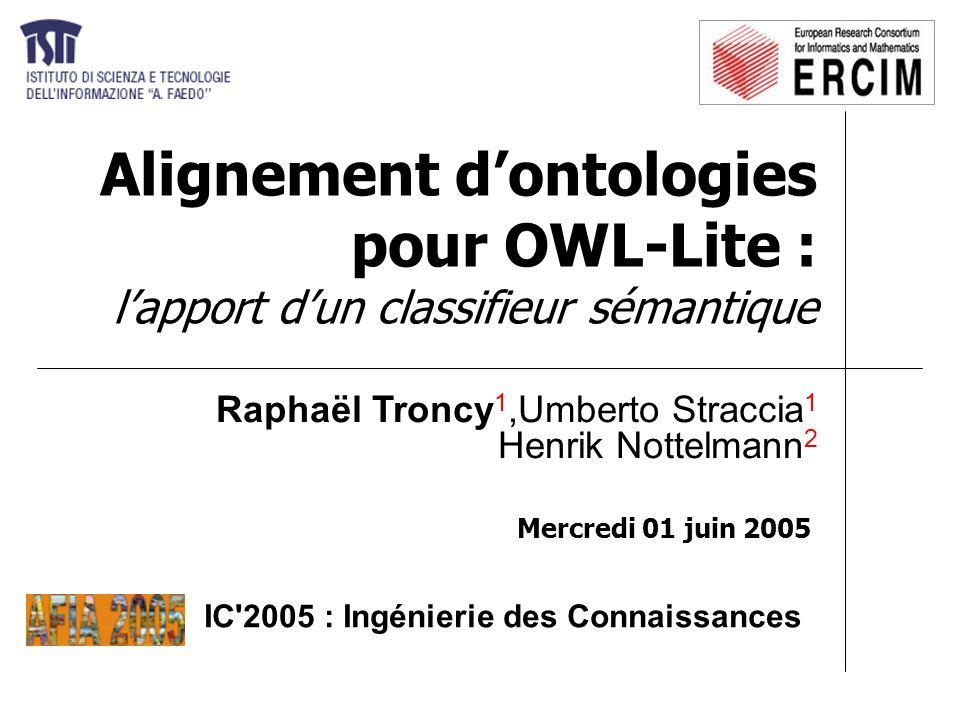 01/06/2005Raphaël Troncy - IC 20052 Motivations Hétérogénéité des systèmes d information –Ontologies : un moyen pour permettre leur interopérabilité –Ontologies : une source d hétérogénéité langage de représentation, degré de formalisation, … Web Sémantique [W3C] –Ontologies OWL / RDF sur le web –Comparer / fusionner des ontologies couvrant des domaines qui se recoupent différentes versions d une même ontologie  fournir un cadre formel et opérationnel pour aligner automatiquement des ontologies OWL : oPLMAP