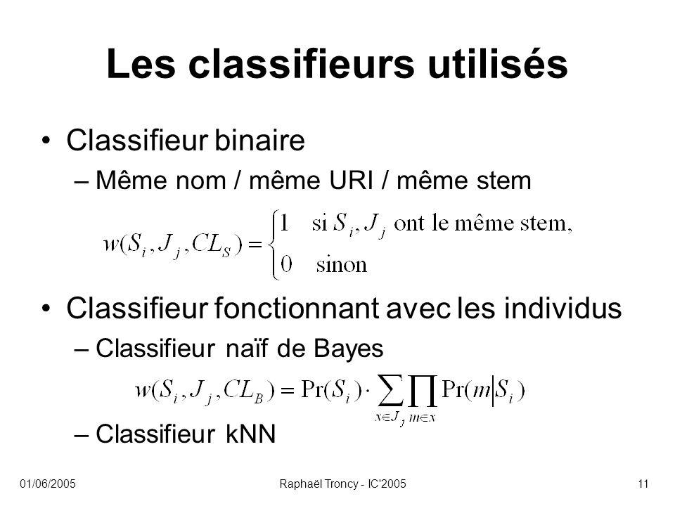 01/06/2005Raphaël Troncy - IC'200511 Les classifieurs utilisés Classifieur binaire –Même nom / même URI / même stem Classifieur fonctionnant avec les