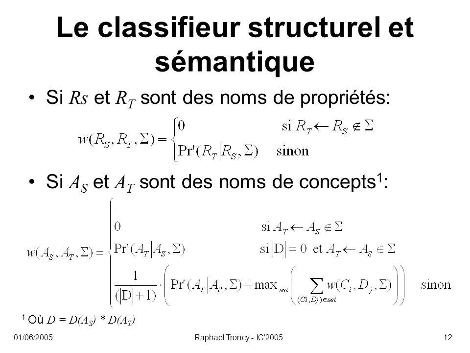 01/06/2005Raphaël Troncy - IC'200512 Le classifieur structurel et sémantique Si Rs et R T sont des noms de propriétés: Si A S et A T sont des noms de