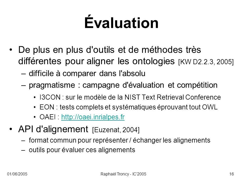 01/06/2005Raphaël Troncy - IC'200516 Évaluation De plus en plus d'outils et de méthodes très différentes pour aligner les ontologies [KW D2.2.3, 2005]