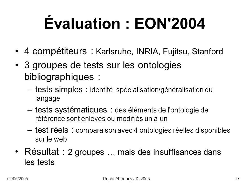 01/06/2005Raphaël Troncy - IC'200517 Évaluation : EON'2004 4 compétiteurs : Karlsruhe, INRIA, Fujitsu, Stanford 3 groupes de tests sur les ontologies