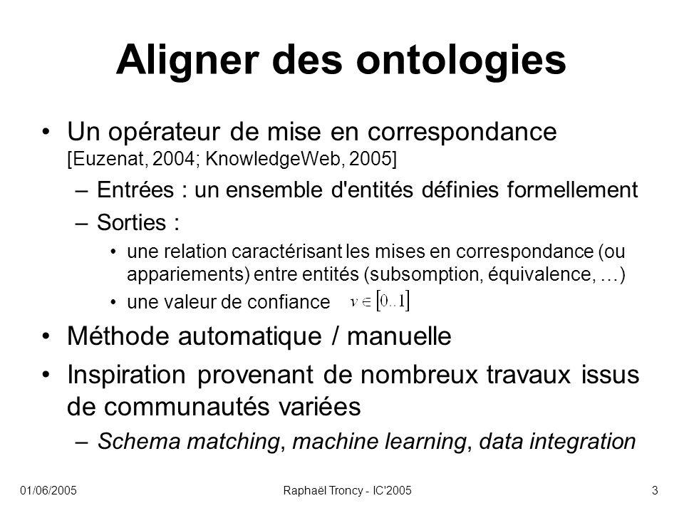01/06/2005Raphaël Troncy - IC'20053 Aligner des ontologies Un opérateur de mise en correspondance [Euzenat, 2004; KnowledgeWeb, 2005] –Entrées : un en