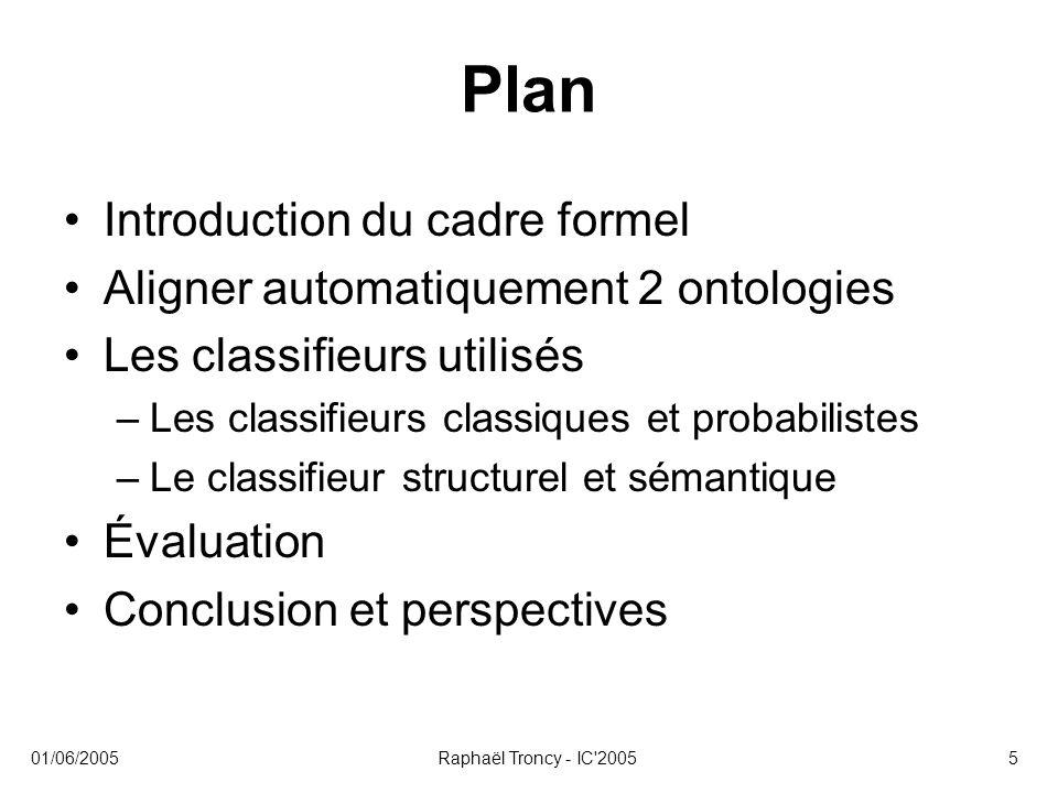 01/06/2005Raphaël Troncy - IC 20056 Introduction du cadre formel Inspirations –Travaux formels en échange d information [Fagin et al., 2003] –GLUE : combiner plusieurs composants spécialisés pour obtenir le meilleur résultat [Doan et al., 2003] Notations –Un alignement : M = (T, S, ∑ ) S et T sont les ontologies source et cible ∑ est un ensemble de règles : α ij T j ← S i –Soit I et J, les modèles (interprétations) de S et T T(I, ∑ ) est le résultat de l application des règles de ∑ sur S Pr( ∑, J, I) estime la probabilité que T(I, ∑ ) soit une valeur plausible pour T