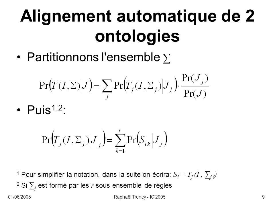 01/06/2005Raphaël Troncy - IC 200510 Alignement automatique de 2 ontologies En conclusion : –Pr( ∑, J, I) est fonction de Pr(S i |J j ) Estimer la probabilité d une règle 1,2 : Calculons les : w(S i, J j, CL k ) 1 En utilisant le Théorème des Probabilités Totales 2 Où CL k sont les classifieurs
