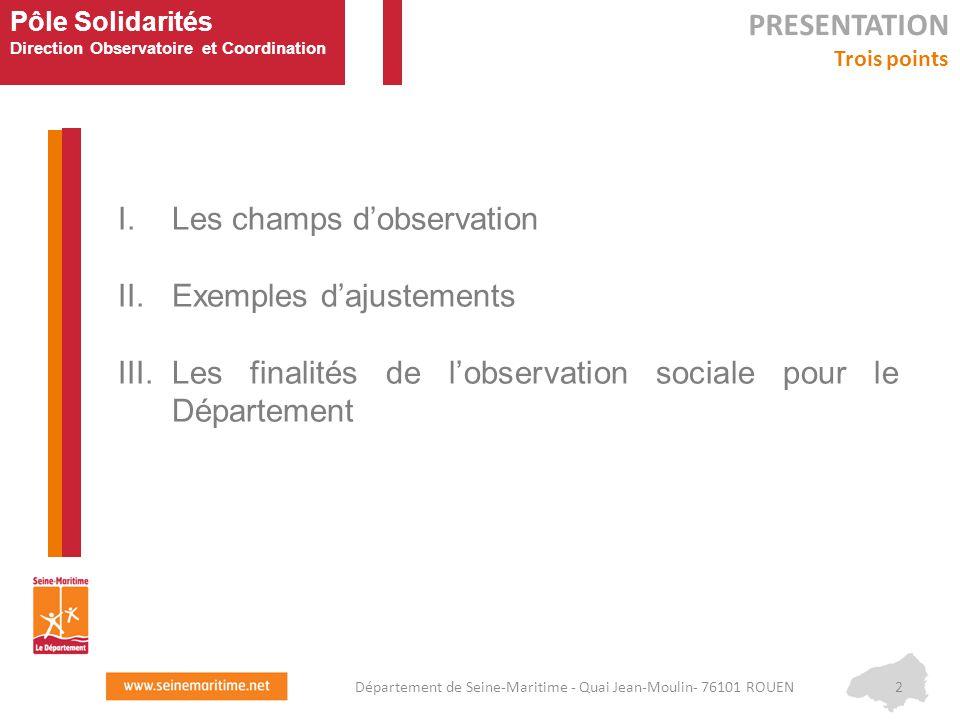 Pôle Solidarités Direction Observatoire et Coordination I.Les champs d'observation II.Exemples d'ajustements III.Les finalités de l'observation social