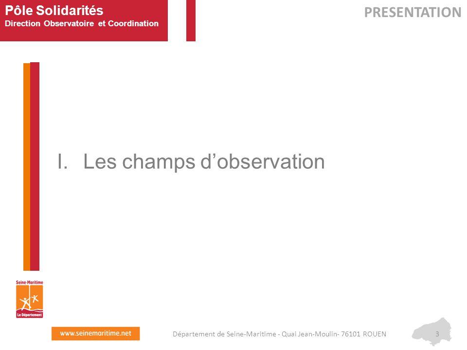 Pôle Solidarités Direction Observatoire et Coordination I.Les champs d'observation PRESENTATION 3Département de Seine-Maritime - Quai Jean-Moulin- 761