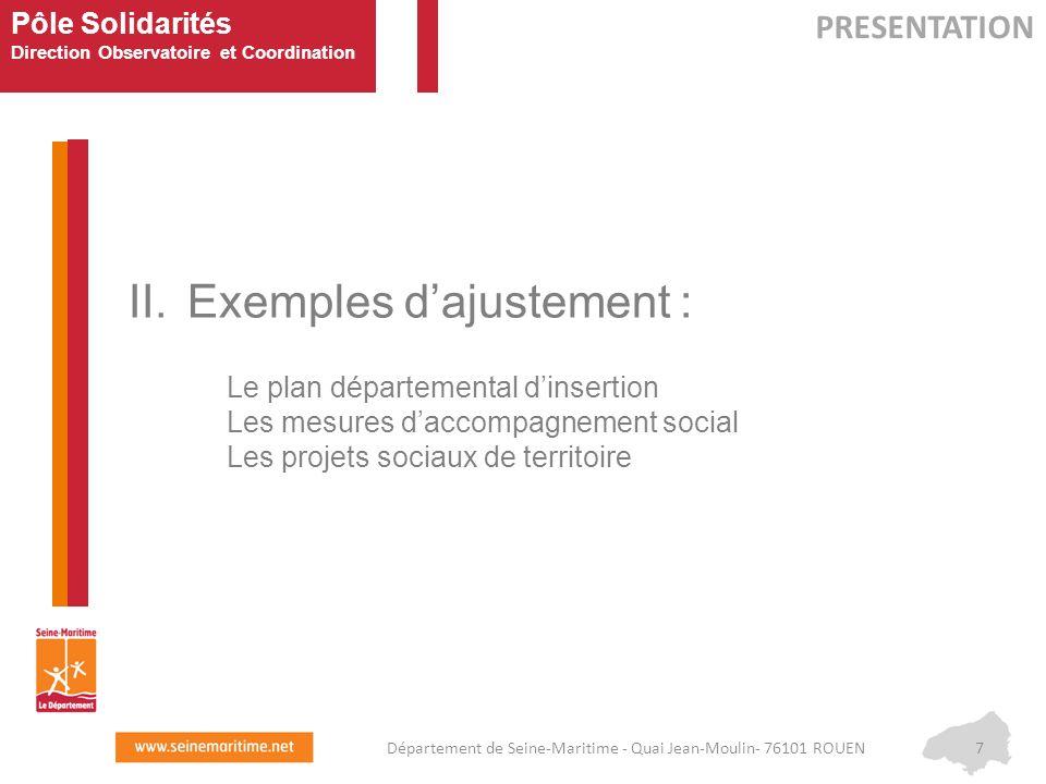 Pôle Solidarités Direction Observatoire et Coordination II.Exemples d'ajustement : Le plan départemental d'insertion Les mesures d'accompagnement soci