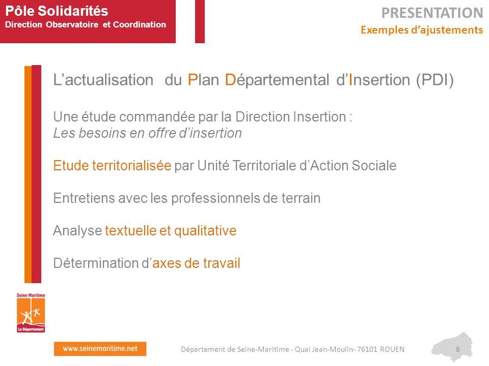 Pôle Solidarités Direction Observatoire et Coordination L'actualisation du Plan Départemental d'Insertion (PDI) Une étude commandée par la Direction I