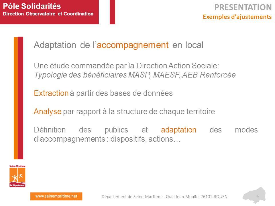 Pôle Solidarités Direction Observatoire et Coordination Adaptation de l'accompagnement en local Une étude commandée par la Direction Action Sociale: T