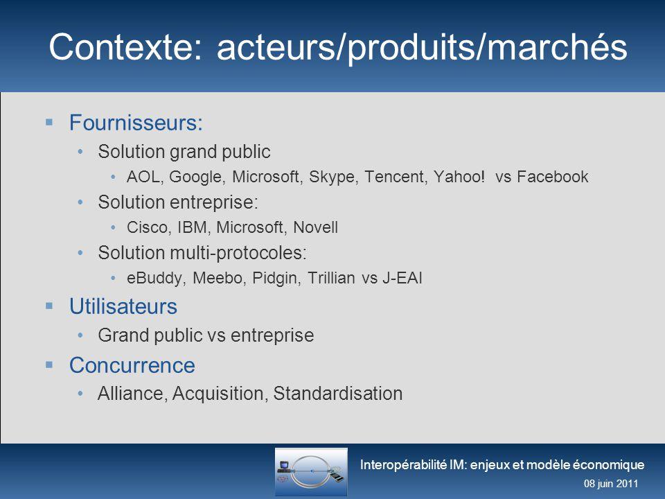Interopérabilité IM: enjeux et modèle économique 08 juin 2011 Contexte: acteurs/produits/marchés  Fournisseurs: Solution grand public AOL, Google, Mi