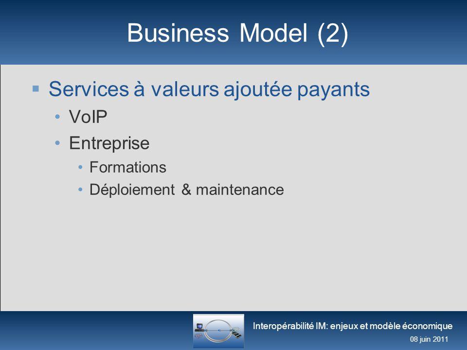 Interopérabilité IM: enjeux et modèle économique 08 juin 2011 Business Model (2)  Services à valeurs ajoutée payants VoIP Entreprise Formations Déplo