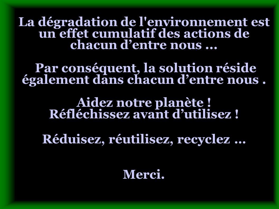 La dégradation de l'environnement est un effet cumulatif des actions de chacun d'entre nous... Par conséquent, la solution réside également dans chacu