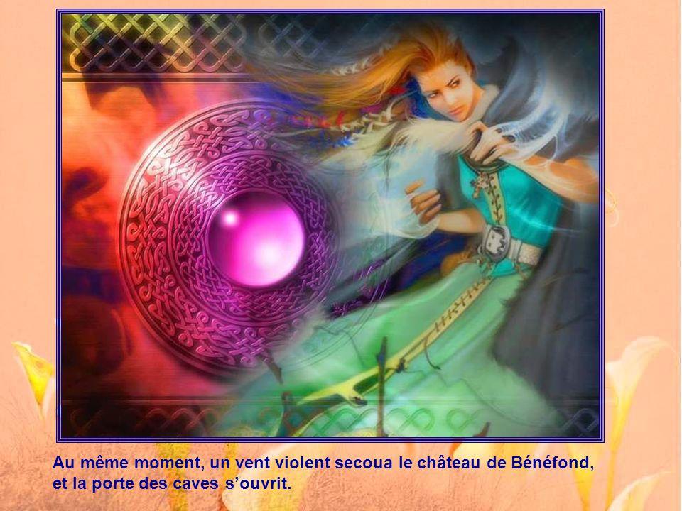 Et enfin ce soir-là elle aperçut Bénéfond dansant de joie devant son chaudron, qui bouillait au-dessus d'un feu ardent.