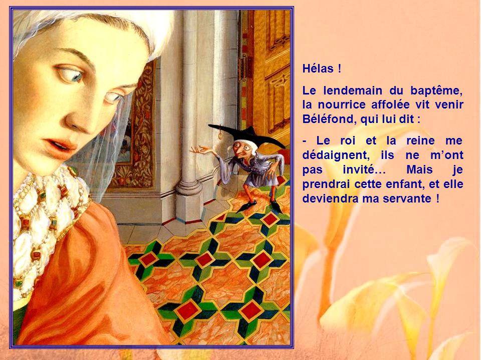 Tout se passa selon la tradition. Les fées présentes donnèrent mille dons à ce bébé. Mais dame Isaure, la plus âgée, ne cachait pas son inquiétude, et