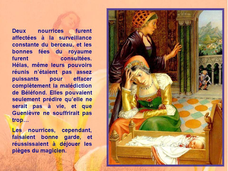 Hélas ! Le lendemain du baptême, la nourrice affolée vit venir Béléfond, qui lui dit : - Le roi et la reine me dédaignent, ils ne m'ont pas invité… Ma