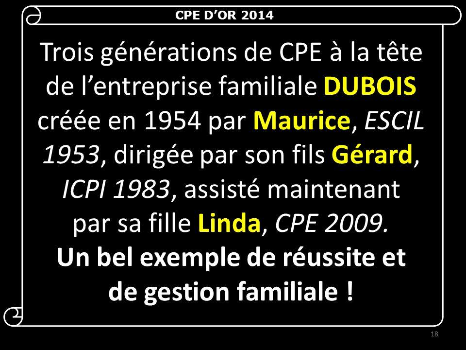 Trois générations de CPE à la tête de l'entreprise familiale DUBOIS créée en 1954 par Maurice, ESCIL 1953, dirigée par son fils Gérard, ICPI 1983, assisté maintenant par sa fille Linda, CPE 2009.