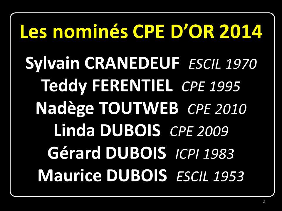 Nominé aux CPE D'OR 2014 Sylvain CRANEDEUF ESCIL 1970 Chercheur chimiste au CNRS : le Centre National de la Recherche Sulfureuse 3
