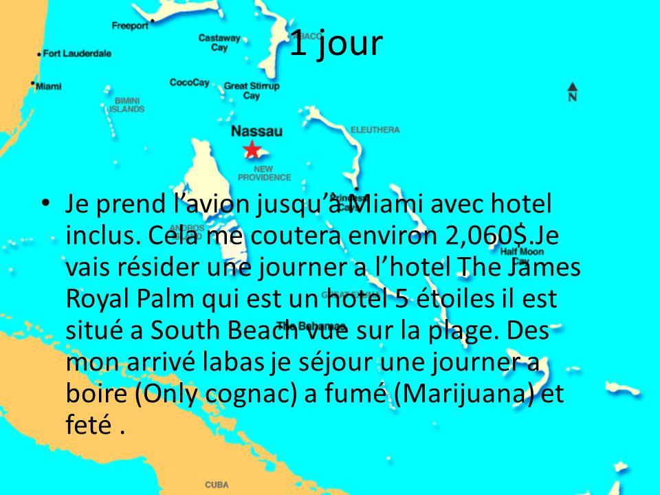 1 jour Je prend l'avion jusqu'à Miami avec hotel inclus. Cela me coutera environ 2,060$.Je vais résider une journer a l'hotel The James Royal Palm qui