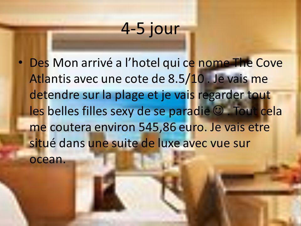 4-5 jour Des Mon arrivé a l'hotel qui ce nome The Cove Atlantis avec une cote de 8.5/10.