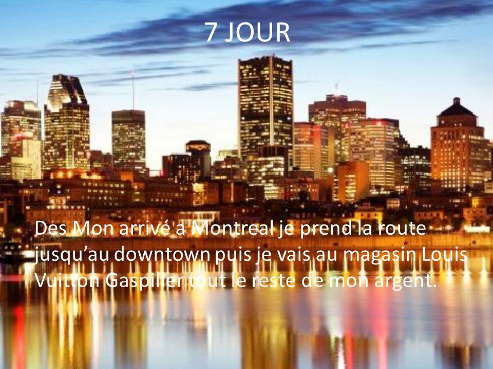 7 JOUR Des Mon arrivé a Montreal je prend la route jusqu'au downtown puis je vais au magasin Louis Vuitton Gaspiller tout le reste de mon argent.