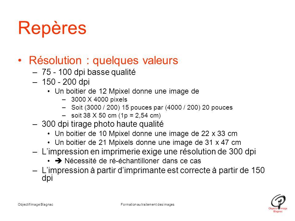 Objectif Image BlagnacFormation au traitement des images Repères Résolution : quelques valeurs –75 - 100 dpi basse qualité –150 - 200 dpi Un boitier d