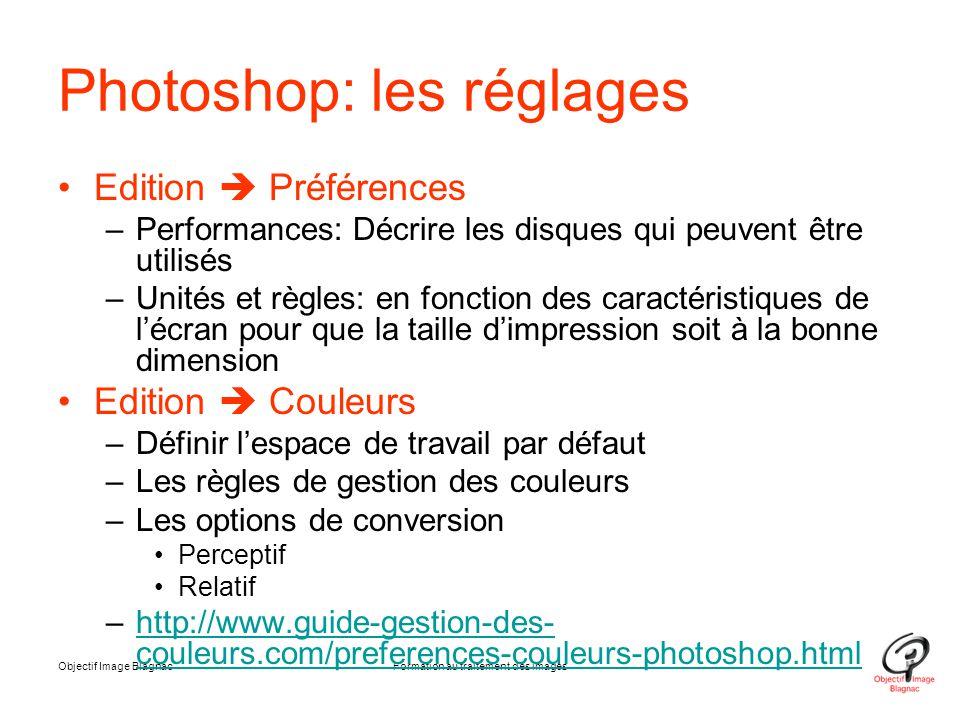 Objectif Image BlagnacFormation au traitement des images Photoshop: les réglages Edition  Préférences –Performances: Décrire les disques qui peuvent