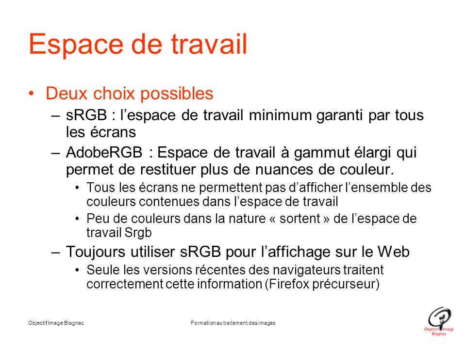 Objectif Image BlagnacFormation au traitement des images Espace de travail Deux choix possibles –sRGB : l'espace de travail minimum garanti par tous l
