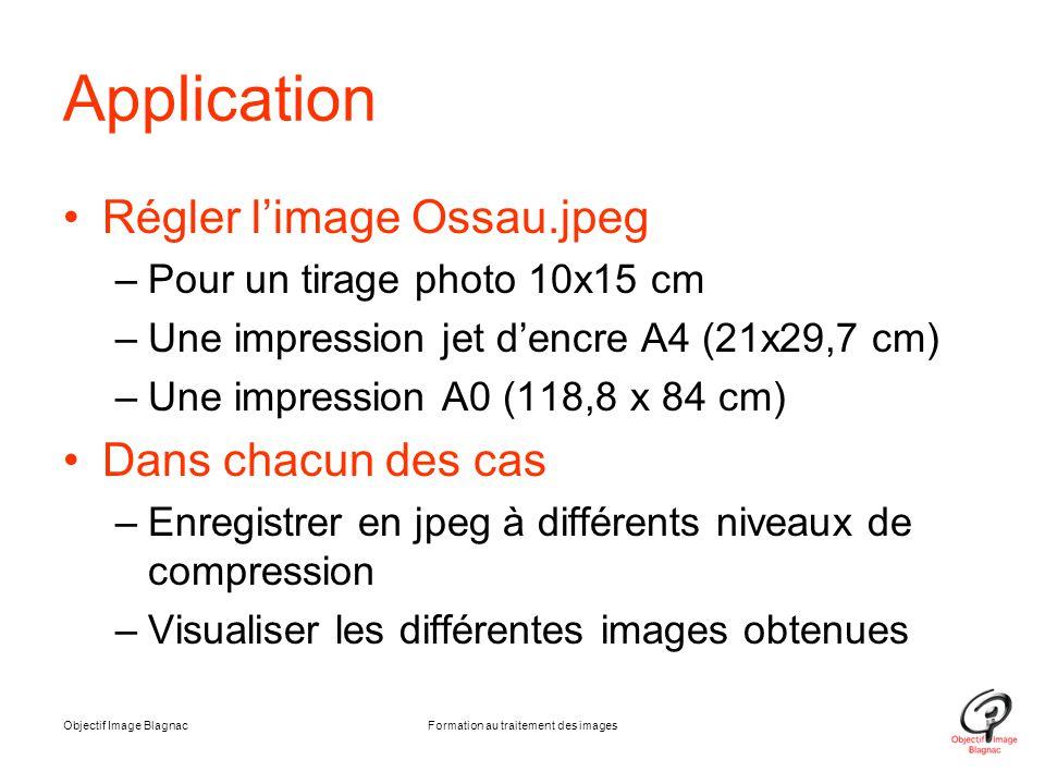 Objectif Image BlagnacFormation au traitement des images Application Régler l'image Ossau.jpeg –Pour un tirage photo 10x15 cm –Une impression jet d'en